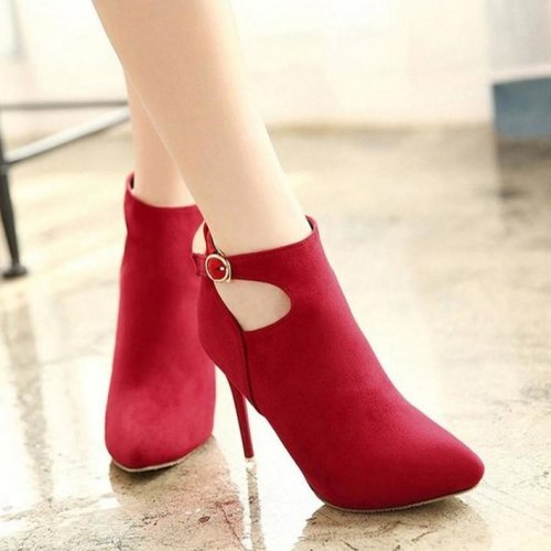 Women Style Cut-Outs Buckle Pointed Toe High Heels Boots
