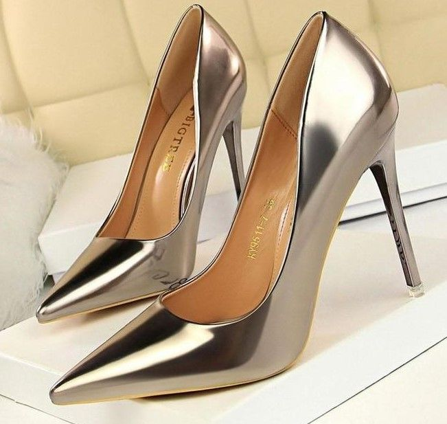 Women Gloss Leather Thin Heel Shoes - FashionzR4U