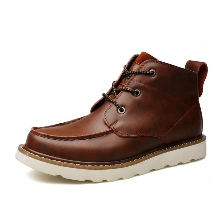 Men Martin Genuine Leather Lace Up Ankle Boots - FashionzR4U