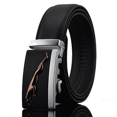 Men Leopard Design Automatic Buckle Leather Belts - FashionzR4U