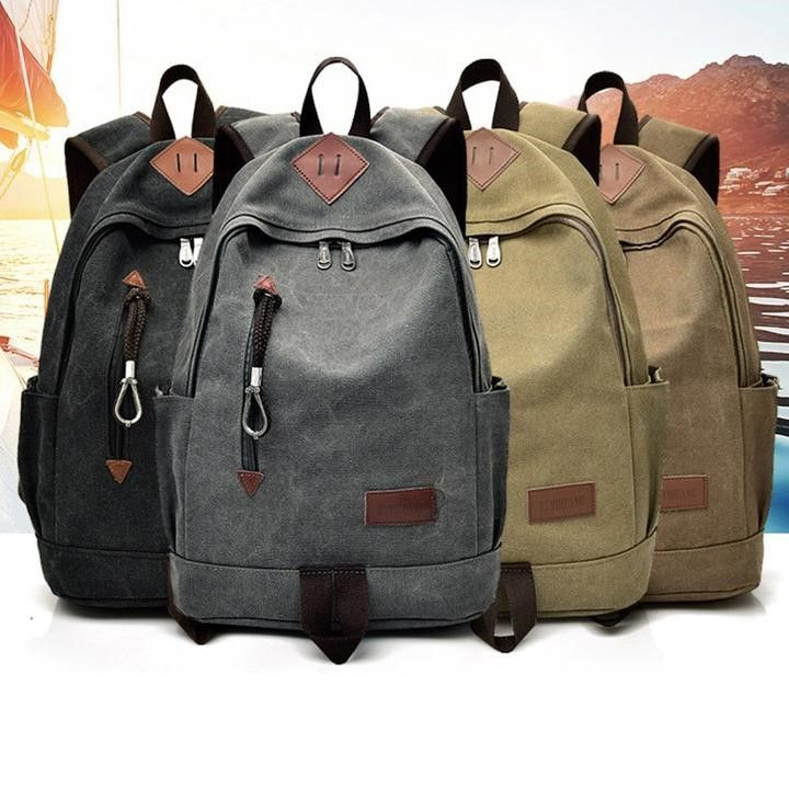 Men Casual Canvas Student Backpack - FashionzR4U