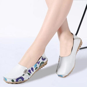 Women Slip On Leather Prints Shoes