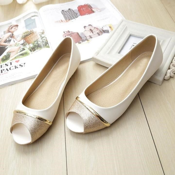Women Soft Leather Peep Toe Flat Shoes - FashionzR4U