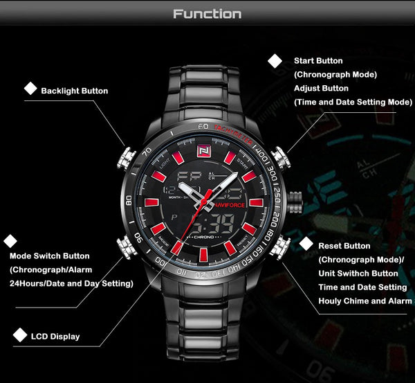 Men Quartz Analog Luxury Sport Waterproof Stainless Watch - FashionzR4U