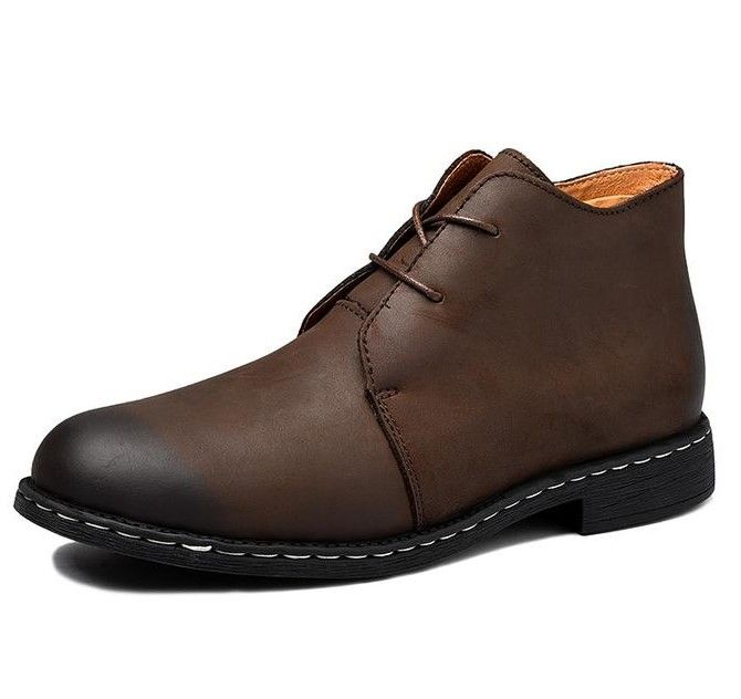 Men Crazy Genuine Leather Martin Ankle Boots - FashionzR4U