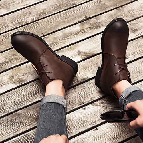 Men Cow Leather Casual Ankle Boots - FashionzR4U