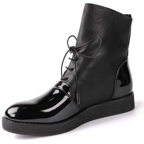 Women Fashion Patent Leather Ankle Boots - FashionzR4U