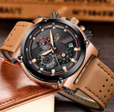 Men Luxury Automatic date Quartz Leather Watch - FashionzR4U