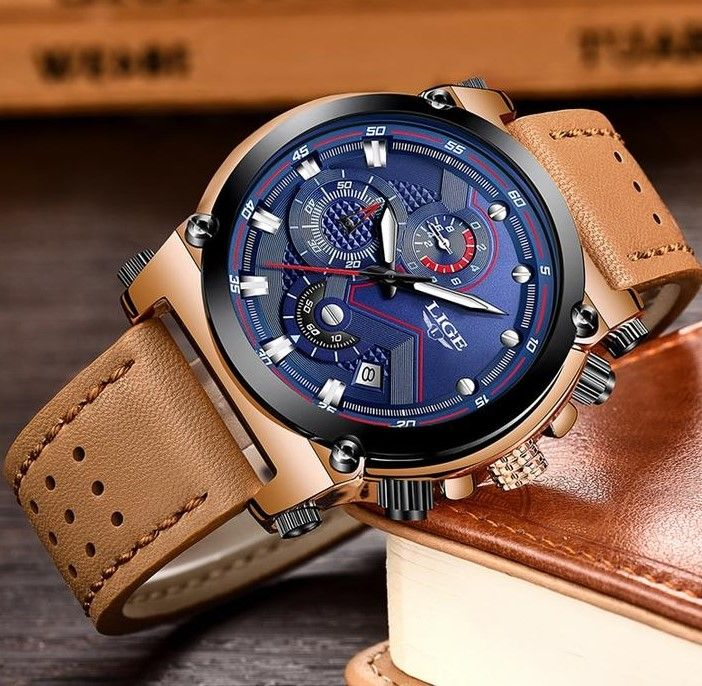 Men Luxury Automatic date Quartz Leather Watch