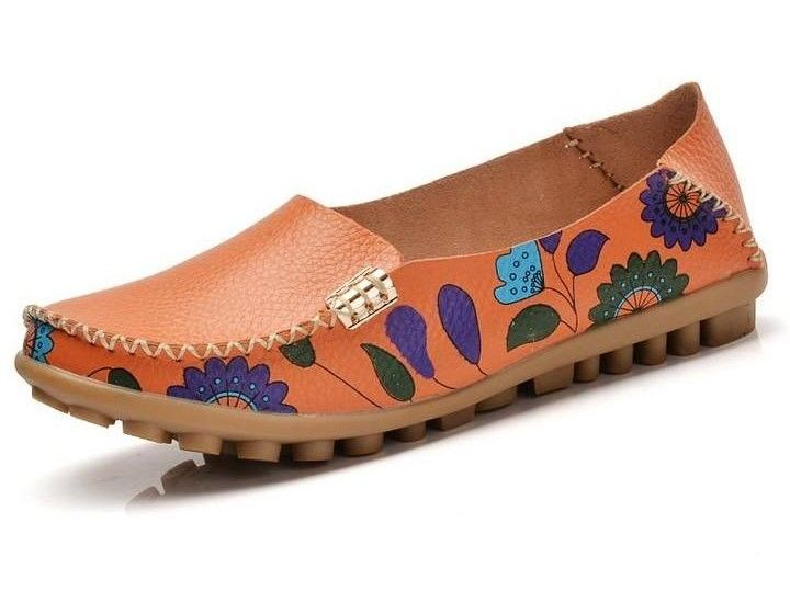Women Slip On Leather Prints Orange Shoes