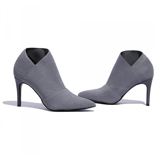 Woman Stretch Fabric High Heel Ankle Boots - FashionzR4U