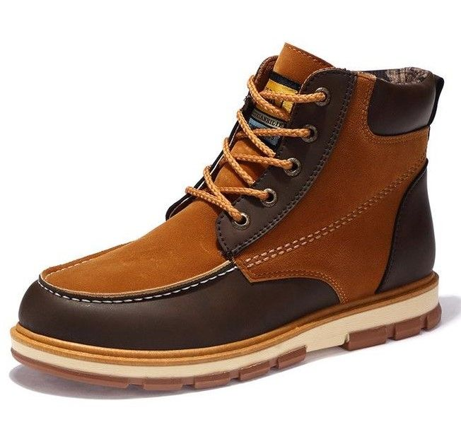 Men Casual Safety Work Lace Up Brown Boots