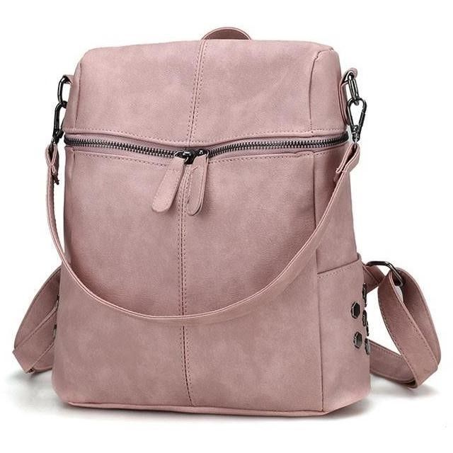 Women Simple Vintage Style Leather Backpacks - FashionzR4U
