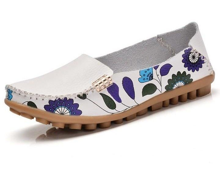 Women Slip On Leather Prints White Shoes