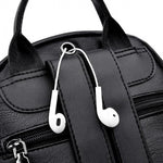 Women Leather With Earphone Holes Casual Shoulder Backpack