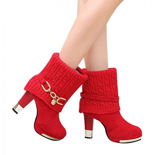 Women Martin Ankle High Heel Leather Boots - FashionzR4U