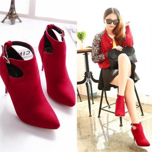 Women Cut Outs Buckle Pointed Toe Boots - FashionzR4U