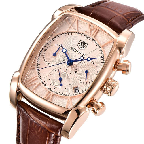Men BENYAR Classic Rectangle Case Fashion Leather Strap Quartz Watch - FashionzR4U