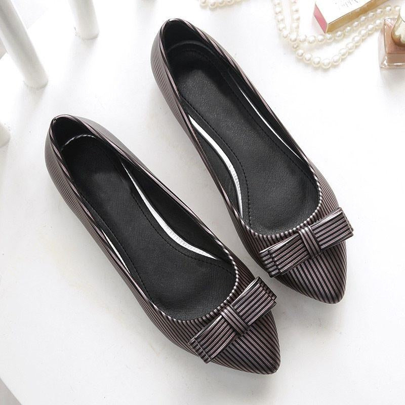 Women Strips Bow Tie Top Flat Brown Shoes