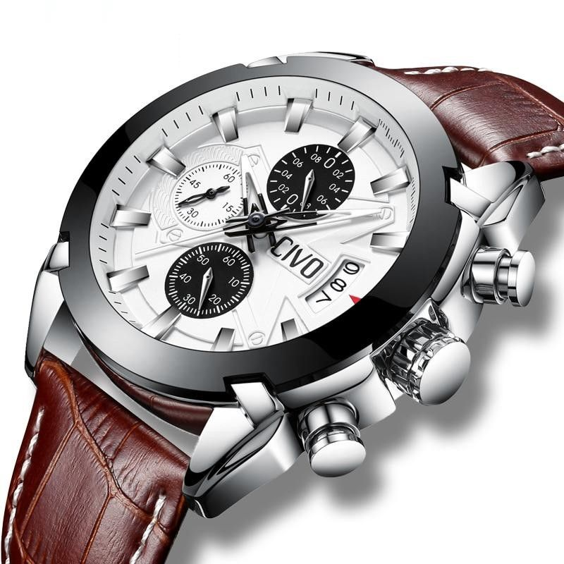 Men Waterproof Date Calendar Fashion Quartz Chronograph Leather Sport Watch - FashionzR4U