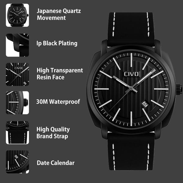 Men Analogue Military Sports Leather Quartz Watch - FashionzR4U