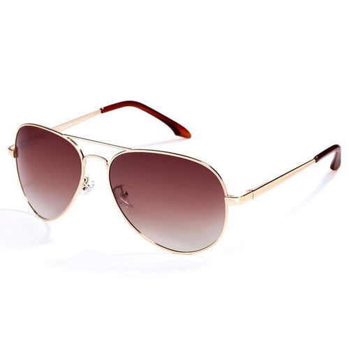Women Brown Polarized Brand Classic Metal Pilot Sunglasses - FashionzR4U