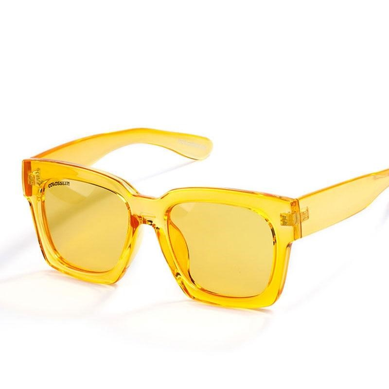 Women Fashion Oversize Square Frame Colorful Lens Sunglasses - FashionzR4U