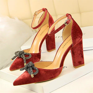 Woman Elegant Butterfly-knot Pointed Buckle High Heel Sandals