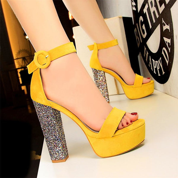Women Buckle Bling Heel Peep Toe Shoes - FashionzR4U