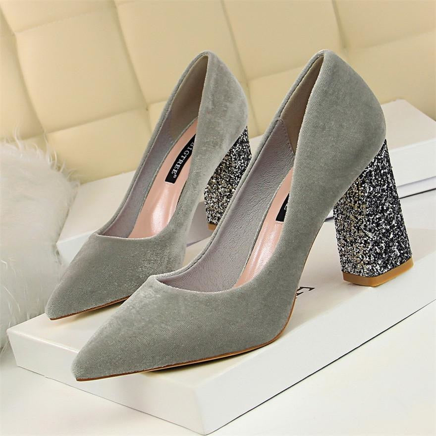 Women Sparkle Square Heel Shoes - FashionzR4U