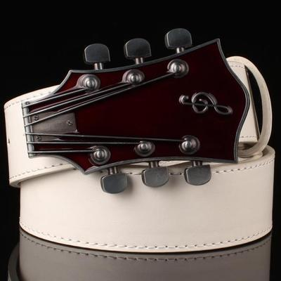 Men Guitar Design Metal Buckle Belts