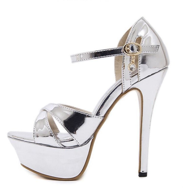 Women Roman Crystal Strap High Heel Shoes