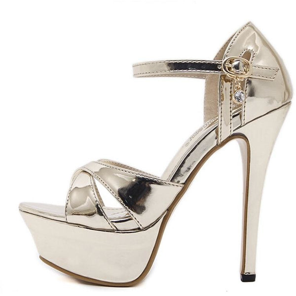 Women Roman Crystal Strap High Heel Shoes - FashionzR4U