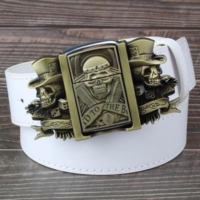 Men Golden Skull Novelty Cigarette Lighter Leather Metal Buckle Belt