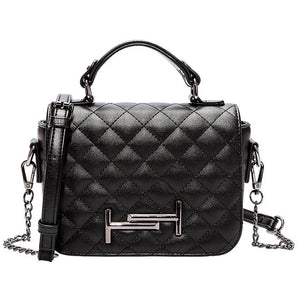Women Luxury Diamond Plaid Design Leather Handbag