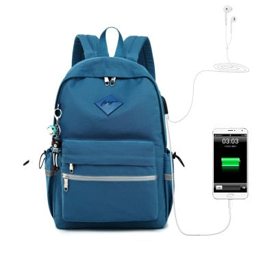 Girls Anti Theft USB Charging Pendant Waterproof School Backpack
