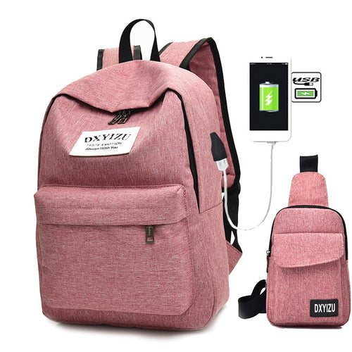 Women 2pcs/Set Canvas USB Charging School Backpacks - FashionzR4U