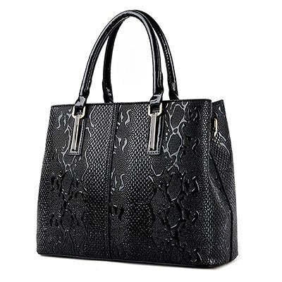 Women New Fashion Leather Snake Skin Design Shoulder Handbags