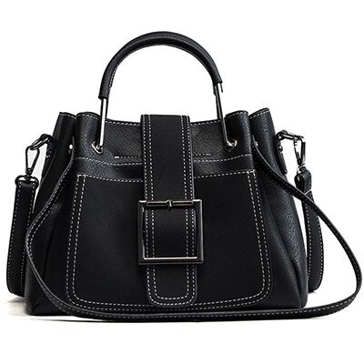 Women Messenger Metal Handle Casual Tote Wide Strap Leather Handbag