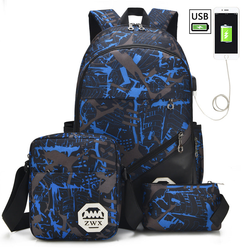 Boys New 3Pcs/Set USB Charging Fashion Teenage School Backpack