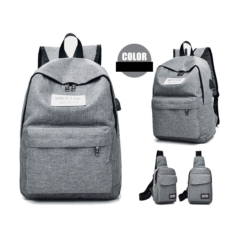 Women 2pcs/Set Canvas USB Charging School Backpacks