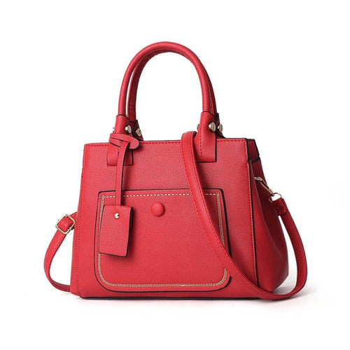 Women Charm Leather Shoulder Cross Lock Design Casual Tote Handbag