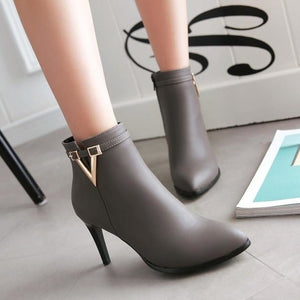 Women Side Zipper Ankle Boots - FashionzR4U