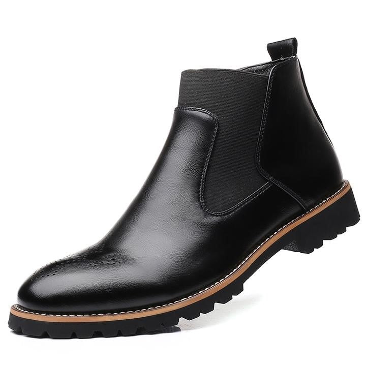 Men Fashion Microfiber Chelsea Black Ankle Boots