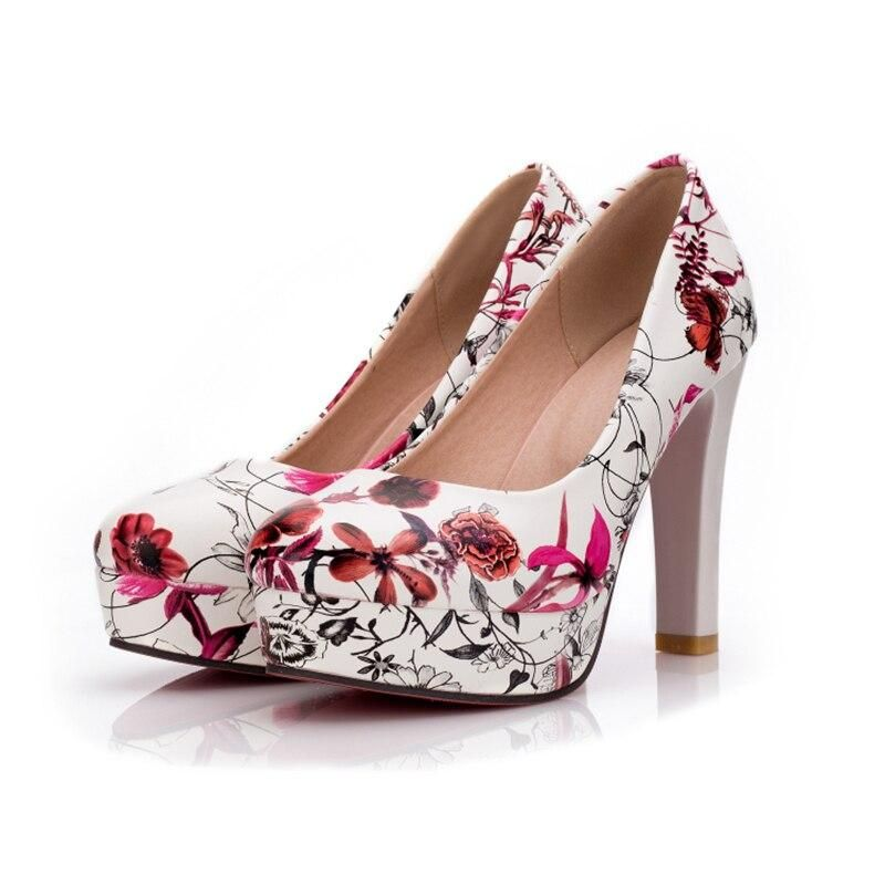 Women Round Toe Platform Flower Prints Fashion Shoes