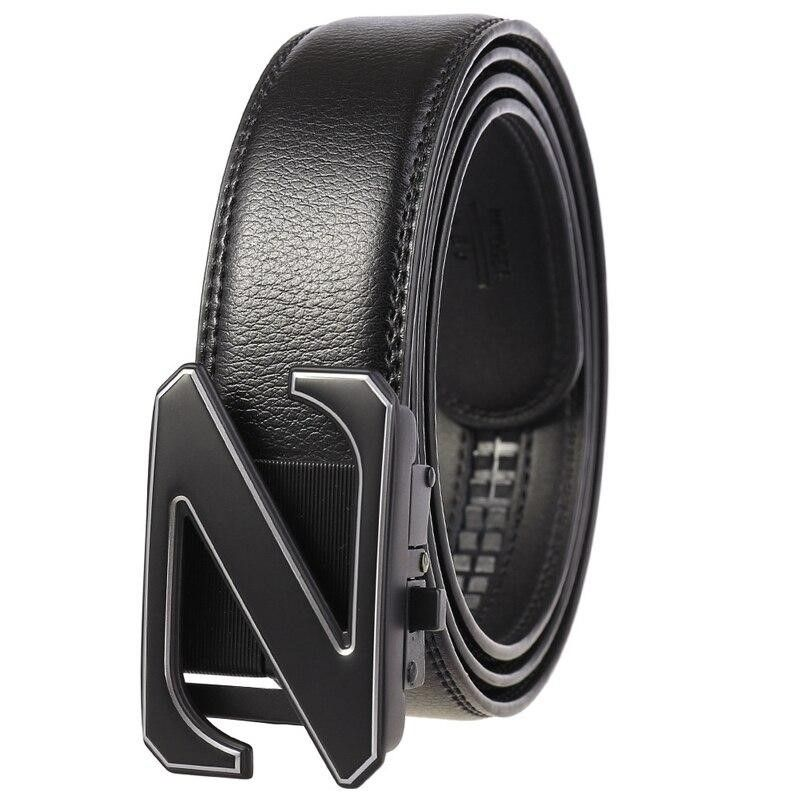 Men Letter Buckle Design Luxury Leather Belts