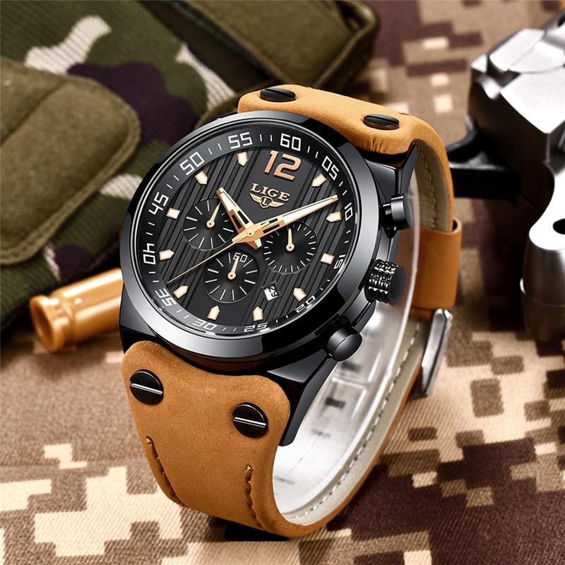 Men Luxury Chronograph Leather Quartz Sport Watch - FashionzR4U