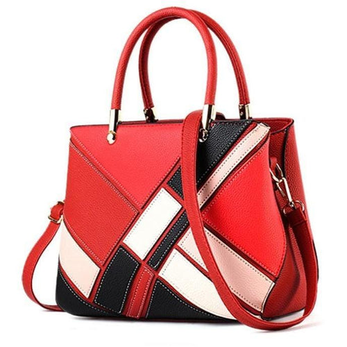 Ladies Patchwork Design Soft Leather Handbag - FashionzR4U