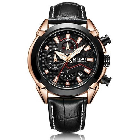 Men Leather Chronograph Military Sport Watch - FashionzR4U