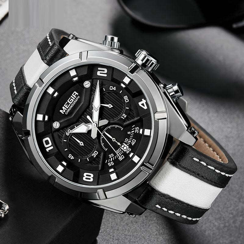 Men Fashion Luminou Leather Strap Quartz Watches - FashionzR4U
